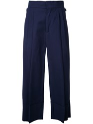 Erika Cavallini Pleated Cropped Trousers Women Cotton 42 Blue