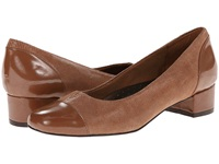 Trotters Danelle Mid Brown Patent Suede Lizard Leather Pearlized Patent Women's Slip On Shoes