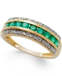 Macy's Emerald 1 2 Ct. T.W. And Diamond Accent Band In 14K Gold