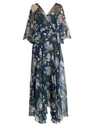 Adam By Adam Lippes Floral Print Silk Chiffon Dress Blue Multi