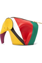 Loewe Elephant Striped Leather Coin Purse Red