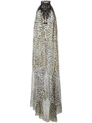 Roberto Cavalli Printed Beaded Neck Gown