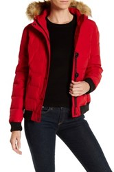 Levi's Faux Fur Trimmed Puffy Jacket Red