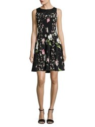 Gabby Skye Plus Floral Fit And Flare Dress Black Multi