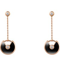 Cartier Amulette De 18Ct Pink Gold Onyx And Diamond Earrings