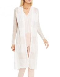 Vince Camuto Petite Sheer Striped Long Cardigan New Ivory