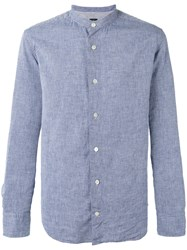 Eleventy Mandarin Neck Shirt Blue