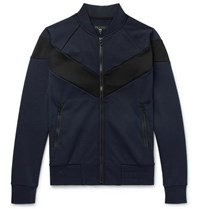Rag And Bone Panelled Scuba Jersey Bomber Jacket Navy