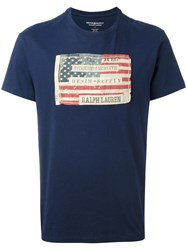 Ralph Lauren Usa Flag Patch T Shirt Blue