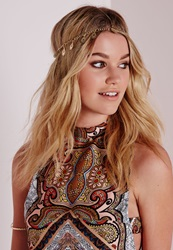 Missguided Drop Down Jewel Chain Headband Gold