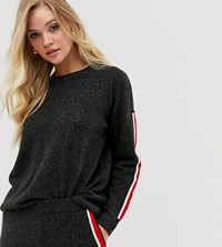 Micha Lounge Crew Neck Sweater With Contrast Side Stripe Two Piece Black