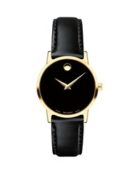 Movado 28Mm Museum Classic Leather Watch Gold Black