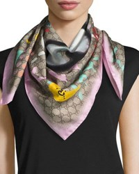 Gucci Silk Square Ufo Scarf Pink Multicolor