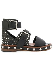 Red Valentino Buckle Strap Stud Sandals Leather Black