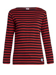 Orcival Breton Striped Cotton And Wool Blend Top Red Stripe