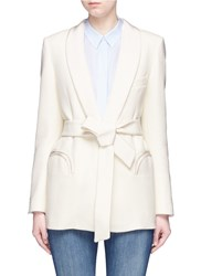 Blaze Milano 'Midnight Smoking Resolute' Belted Wool Blazer White