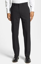 Men's Michael Kors Flat Front Stretch Wool Trousers Black