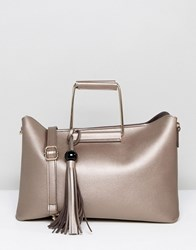 Park Lane Structured Tote Bag With Metal Handle Silver