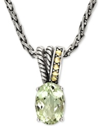 Effy Collection Effy Green Amethyst Pendant Necklace In 18K Gold And Sterling Silver 5 3 4 Ct. T.W.