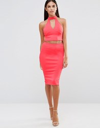 Ax Paris Pencil Skirt With Split Back Coral Pink