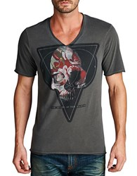 Cult Of Individuality Death Flowers V Neck Tee Grey