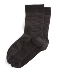 Wolford Striped Cotton Ankle Socks Black Anthracite