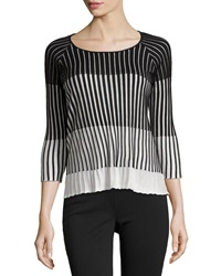 C By Cyrus Textured Stripe Sweater Black White
