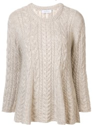 Ryan Roche Flared Cable Knit Jumper Nude And Neutrals