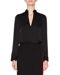 Giorgio Armani Silk Twill Split Neck Blouse Black