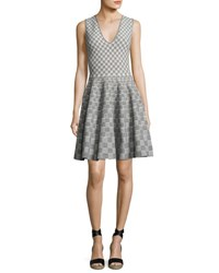 Alexander Mcqueen Sleeveless V Neck Check Dress Black Ivory Black Ivory