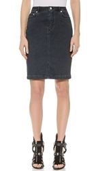 Blk Dnm Jean Skirt 14 Blue Over Dyed Black