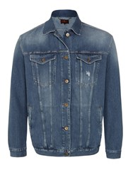 7 For All Mankind Oversized Trucker Jacket Victoria Blue