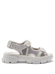 7d74acda571e Gucci Aguru Leather And Mesh Sandals White
