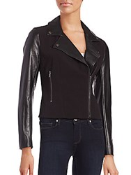 French Connection Alana Contrast Textured Moto Jacket Black