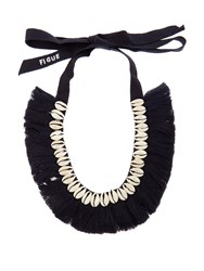 Figue Shell And Tassel Necklace Navy