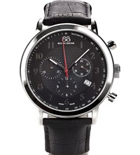 88 Rue Du Rhone 87Wa120047 Stainless Steel And Leather Chronograph Watch Black