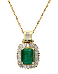 Effy Emerald Diamond And 14K Yellow Gold Pendant Necklace 0.54 Tcw Emerald Gold