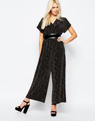 Monki Wide Sleeve Flare Jumpsuit Black