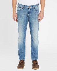 Wrangler Light Blue Larston Selvedge Tapered Slim Fit Jeans