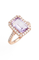 Lafonn 'Aria' Emerald Cut Ring Rose Gold Amethyst