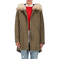 Army By Yves Salomon Fur Trim Cotton Hooded Parka And Down Quilted Lining Hunter Green