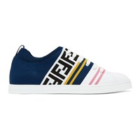 White And Blue Knit 'Forever Fendi' Sneakers