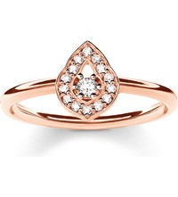 Thomas Sabo Fatima's Garden Rose Gold Plated And Zirconia Pave Stacking Ring