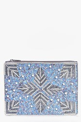 Boohoo Katherine Bridal Pearl And Sequin Clutch Bag Blue