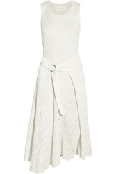 Victoria Beckham Smocked Satin And Lace Midi Dress White