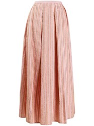 Thierry Colson Striped Flared Skirt Pink