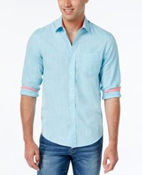 Weatherproof Men's Solid Texture Long Sleeve Shirt Contrast Cuffs Aqua