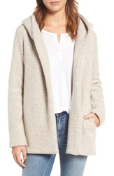 James Perse Women's Hooded Boucle Open Jacket Cement