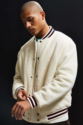 Urban Outfitters Uo Sherpa Varsity Jacket Cream