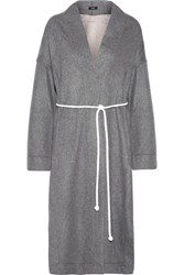 Bassike Double Faced Wool Blend Coat Gray